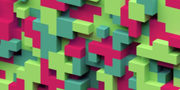 3d render, abstrakten geometrischen hintergrund, bunte konstruktor, logikspiel, kubische mosaik-struktur, isometrische tapete, rote grüne würfel - spielplatz design stock-fotos und bilder