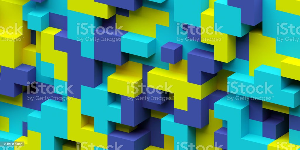 3d render, abstract geometric background, colorful constructor, logic game, cubic mosaic structure, isometric wallpaper stock photo