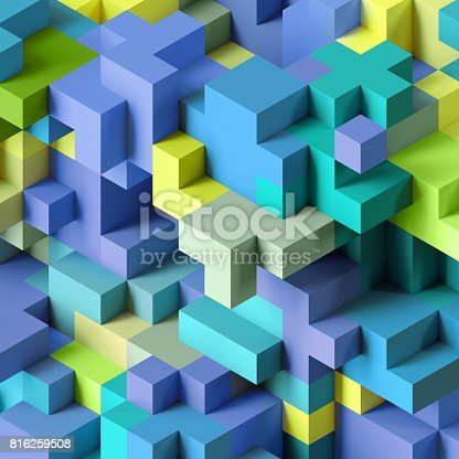 istock 3d render, abstract geometric background, colorful constructor, logic game, cubic mosaic structure, isometric wallpaper, blue green cubes 816259508