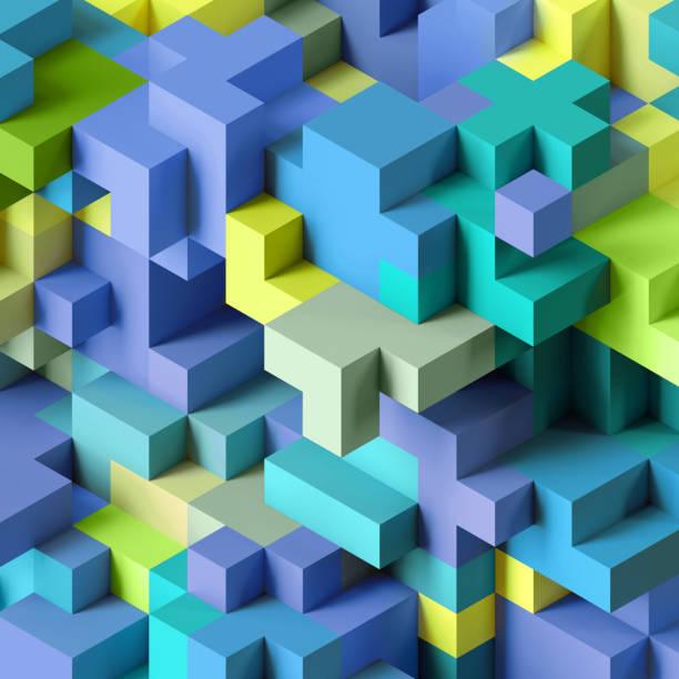 render 3D, fondo geométrico abstracto, colorido constructor, juego de lógica, estructura cúbico mosaico, papel pintado isométrica, cubos verdes azul - foto de stock