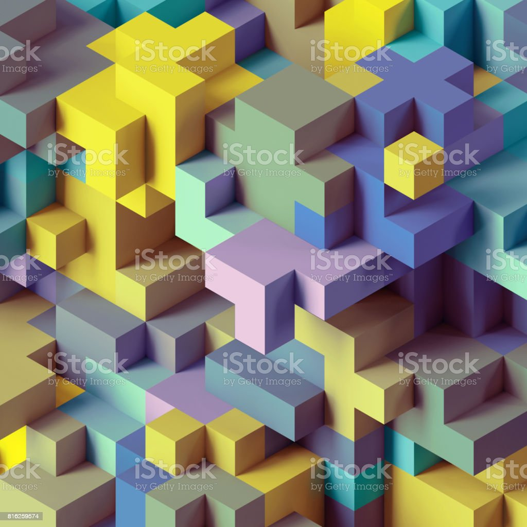 3d render, abstract geometric background, colorful constructor, logic game, cubic mosaic structure, isometric wallpaper, red green cubes stock photo