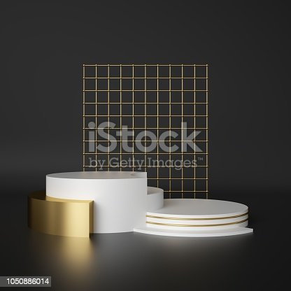 istock 3d render, abstract geometric background, cylinder podium, minimalistic primitive shapes, modern mock up, blank template, gold metal grid, mesh, empty showcase, shop display 1050886014