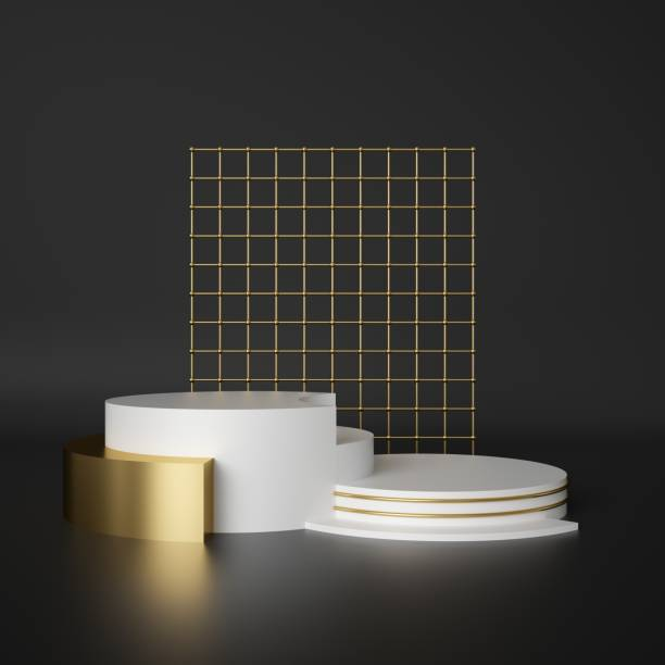 3d render, abstract geometric background, cylinder podium, minimalistic primitive shapes, modern mock up, blank template, gold metal grid, mesh, empty showcase, shop display - retail display stock photos and pictures