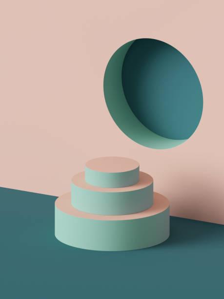 3d render, abstrakte geometrische hintergrund, mode-podium, mock-up, leere vorlage, minimalistische leere schaufenster, primitiven formen, nische, art-deco-schaufenster, pastell-farben - pyramide sammlung stock-fotos und bilder