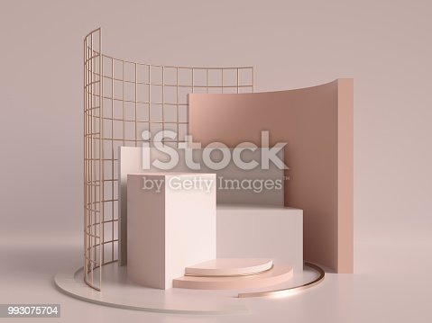 993080194 istock photo 3d render, abstract geometric background, minimalistic primitive shapes, modern mock up, cylinder podium, blank template, rose gold metal grid, empty showcase, shop display, blush pink pastel colors 993075704
