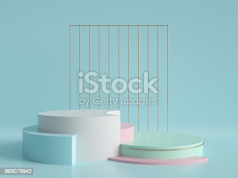 993080194 istock photo 3d render, abstract geometric background, minimalistic primitive shapes, modern mock up, cylinder podium, blank template, gold metal grid, empty showcase, shop display, mint blue pink pastel colors 993079942