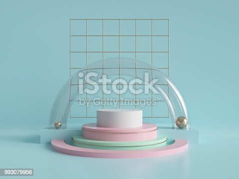 993080194 istock photo 3d render, abstract geometric background, minimalistic primitive shapes, modern mock up, cylinder podium, blank template, gold metal grid, empty showcase, shop display, mint blue pink pastel colors 993079956