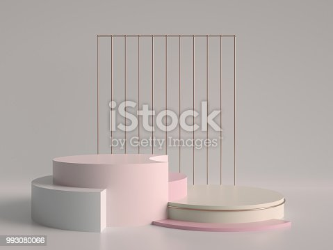 993080194 istock photo 3d render, abstract geometric background, minimalistic primitive shapes, modern mock up, cylinder podium, blank template, rose gold metal grid, empty showcase, shop display, pastel pink colors 993080066