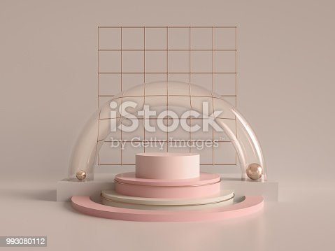 993080194 istock photo 3d render, abstract geometric background, minimalistic primitive shapes, modern mock up, cylinder podium, blank template, rose gold metal grid, empty showcase, shop display, blush pink pastel colors 993080112