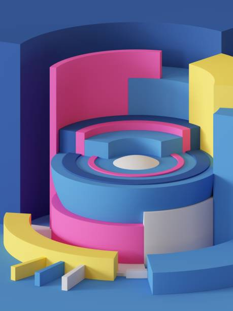 3d render, abstract geometric background, primitive shapes, cylinders, sector, bright colorful locks - advertising isometric stock photos and pictures