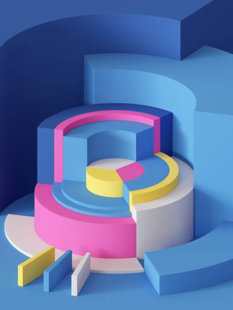 3d render, abstract geometric background, primitive shapes, cylinders, sector, bright colorful blocks - advertising isometric stock photos and pictures