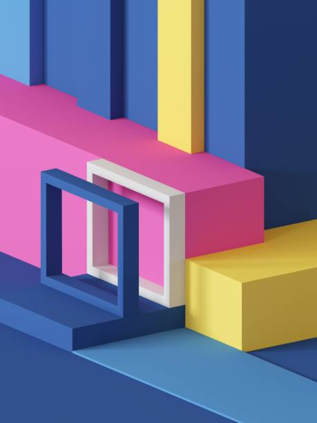 3d render, abstract geometric background, primitive shapes, toys, cube, colorful rectangular blocks - advertising isometric stock photos and pictures