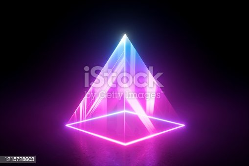 3d render, abstract geometric background. Pyramid of neon light isolated on black. Blue pink laser rays in the dark, projecting square shape on the stage floor.