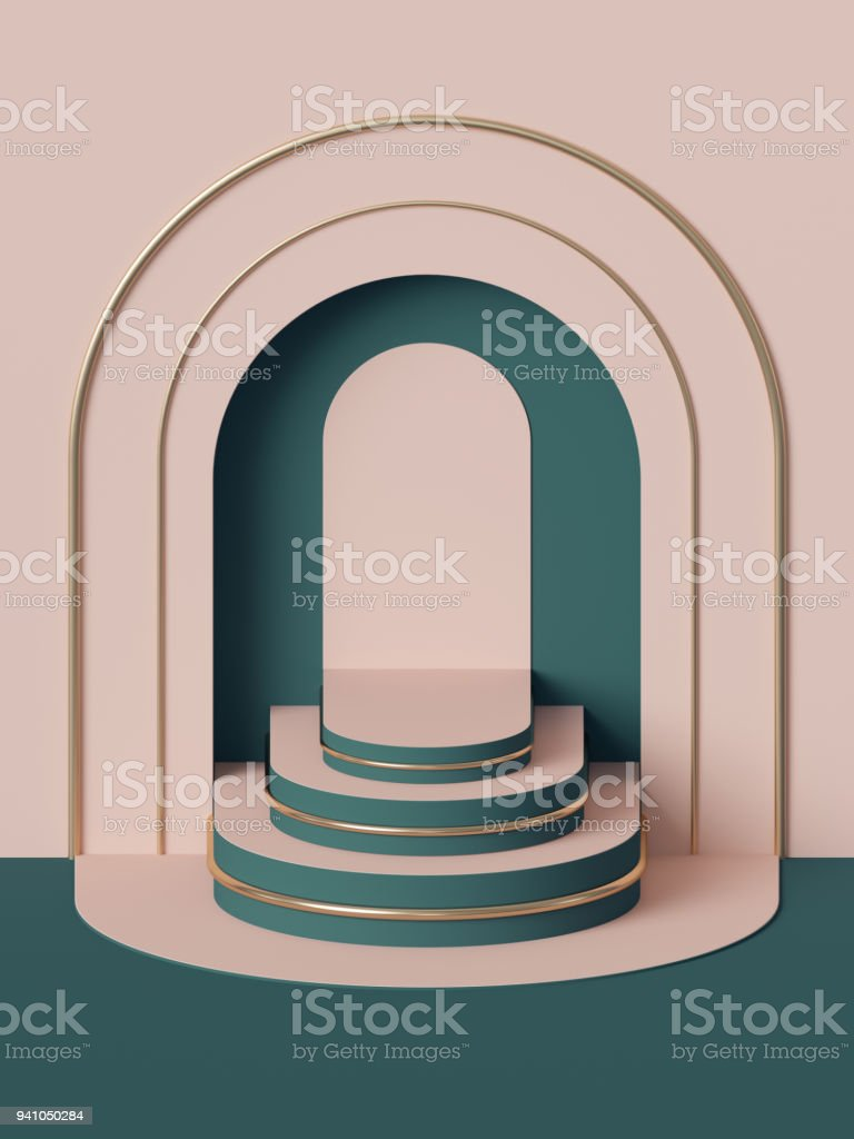 3d render, abstract geometric background, stairs, fashion podium, mock up, blank template, minimalistic empty showcase, primitive arch shapes, art deco shop display, pastel colors stock photo