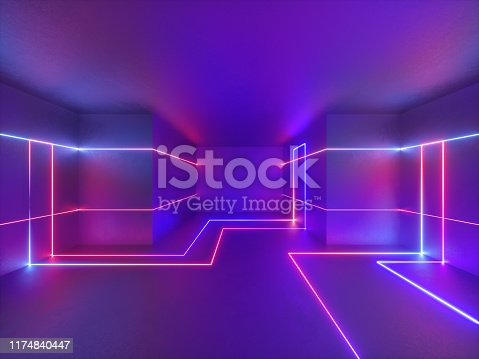 3d render, abstract geometric neon background, glowing lines