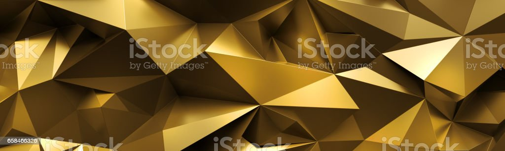 3d render, abstract gold crystal background, faceted texture, macro panorama, wide panoramic polygonal wallpaper stock photo