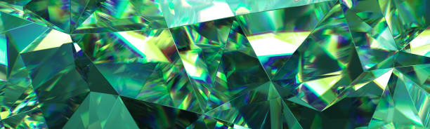 3d render, abstract green crystal background, faceted texture, emerald gem macro, panorama, wide panoramic polygonal wallpaper stock photo