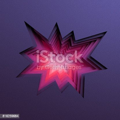 istock 3d render, abstract layered background, paper cut hole, black red shapes 816259684