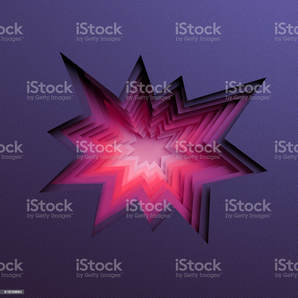 3d render, abstract layered background, paper cut hole, black red shapes stock photo
