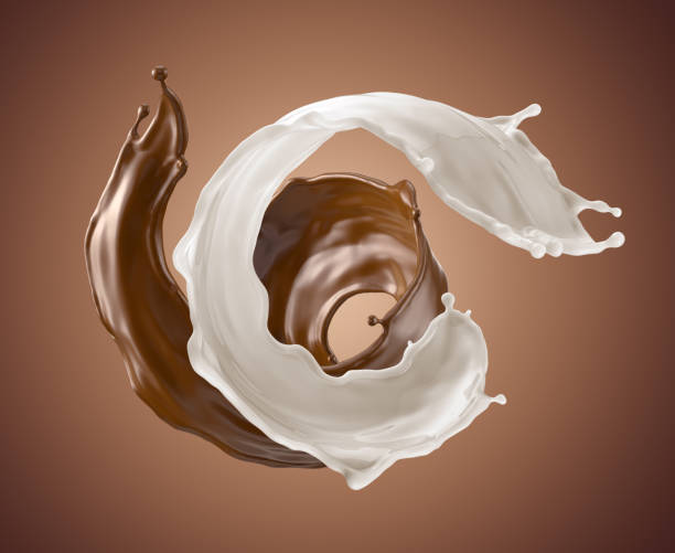 3d render, abstract liquid, milk, chocolate, butter, splash, twisted wavy jets, ingredients set, isolated splashing clip art - chocolate swirl stock photos and pictures