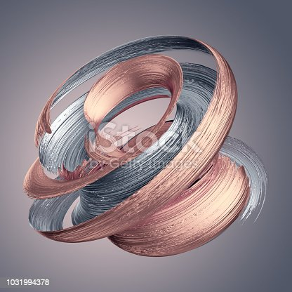 921375446istockphoto 3d render, abstract metallic brushstroke, rose gold, silver paint smear, splashing platinum shape, shiny foil, ribbon, isolated clip art 1031994378