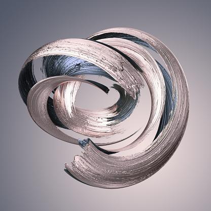 istock 3d render, abstract metallic brushstroke, silver paint smear, splashing platinum shape, rose gold, shiny foil, ribbon, isolated clip art 1031994304