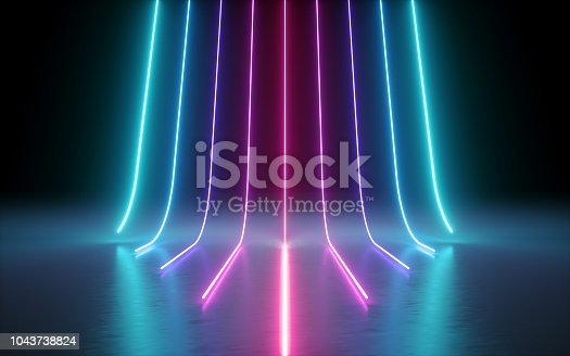 istock 3d render, abstract minimal background, glowing lines, cyber, chart, pink blue neon lights, ultraviolet spectrum, laser show 1043738824