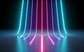 3d render, abstract minimal background, glowing lines, cyber, chart, pink blue neon lights, ultraviolet spectrum, laser show