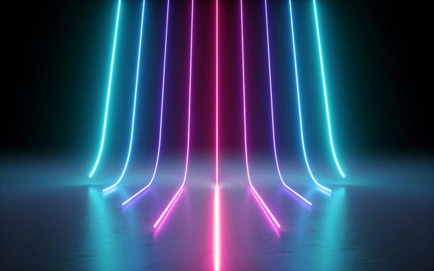 3d render, abstract minimal background, glowing lines, cyber, chart, pink blue neon lights, ultraviolet spectrum, laser show - in a row stock pictures, royalty-free photos & images