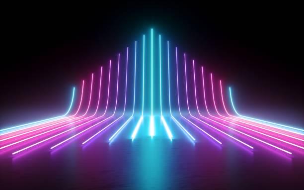 3d 렌더링, 추상 최소한의 배경가 빛나는 선, 화살표, 사이버, 차트, 핑크 블루 네온 조명, 자외선 스펙트럼, 레이저 쇼 - 자외선 차단 뉴스 사진 이미지