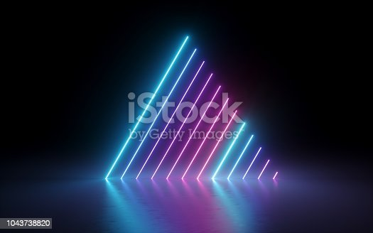 1043738824 istock photo 3d render, abstract minimal background, glowing lines, triangle shape, pink blue neon lights, ultraviolet spectrum, laser show 1043738820