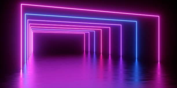 3d 렌더링, 추상 최소한의 배경, 적 열 하는 라인 터널, 아치, 복도, 핑크 블루 네온 조명, 자외선 스펙트럼, 가상 현실, 레이저 쇼 - 자외선 차단 뉴스 사진 이미지