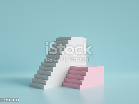 993080194 istock photo 3d render, abstract minimal background, pink and white stairs, podium, pastel colors 993080090