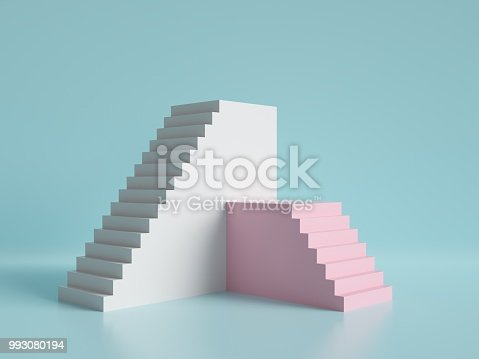 istock 3d render, abstract minimal background, pink and white stairs, podium, pastel colors 993080194