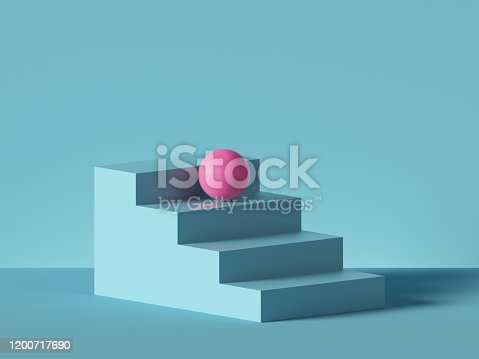 istock 3d render, abstract minimal background. Pink ball placed on blue steps, isolated stairs. Blank pedestal, empty podium. Architectural element, primitive shape. Product showcase, shop display 1200717690