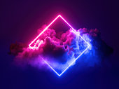 istock 3d render, abstract minimal background, pink blue neon light square frame with copy space, illuminated stormy clouds, glowing geometric shape. 1276580714