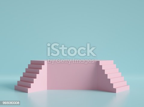 3d render, abstract minimal background, pink stairs, podium, pastel colors
