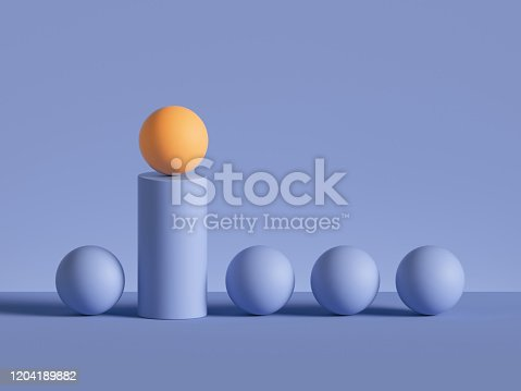 3d render, abstract minimal geometric background. Yellow ball placed on cylinder podium. Raw of balls. Isolated objects, primitive shapes. Successful business concept, one of a kind, career metaphor