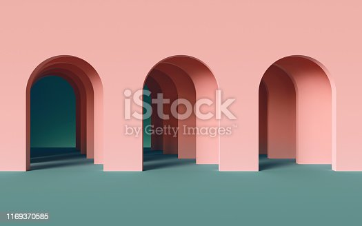 istock 3d render, abstract minimalist geometric background, architectural concept, arch inside pink wall, paper layers 1169370585