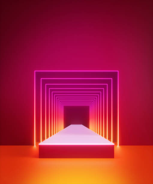 3d render, abstract modern minimal red background, bright neon light inside square tunnel, portal, performance stage, empty corridor, blank showcase, podium with floor reflection, infrared light 3d render, abstract modern minimal red background, bright neon light inside square tunnel, portal, performance stage, empty corridor, blank showcase, podium with floor reflection, infrared light disco lights stock pictures, royalty-free photos & images