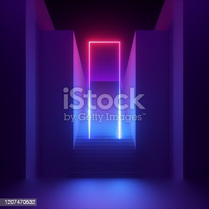 3d render, abstract modern minimal ultraviolet background, red blue neon light glowing rectangular frame. Empty staircase perspective, architectural portal entrance. Futuristic urban concept
