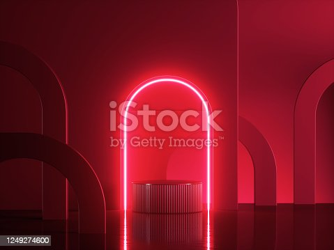 istock 3d render, abstract modern red neon background. Shiny frame with copy space. Glowing round arch over cylinder podium, empty performance stage, blank platform for product displaying 1249274600