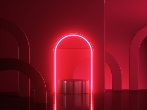 3d render, abstract modern red neon background. Shiny frame with copy space. Glowing round arch over cylinder podium, empty performance stage, blank platform for product displaying