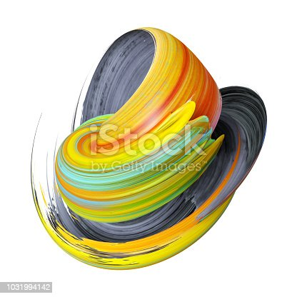 921375446istockphoto 3d render, abstract multicolor brush stroke, yellow paint artistic smear, splash, splatter, colorful curl, vortex, clip art design element isolated on white 1031994142