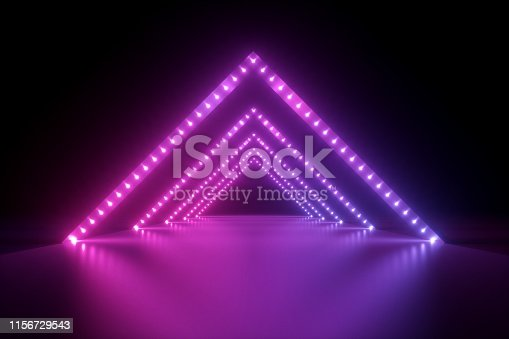 1149518720 istock photo 3d render, abstract neon background, fashion podium in ultraviolet light, performance stage decoration, glowing triangle shapes, illuminated night club corridor with triangular arcade 1156729543