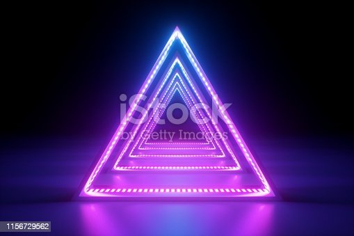 1149518720 istock photo 3d render, abstract neon background, fashion podium in ultraviolet light, performance stage decoration, glowing triangle shapes, illuminated night club corridor with triangular arcade 1156729562