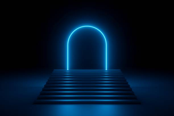 3d render, abstract neon background, glowing blue rounded arch, stairs, steps, performance stage design, empty fashion podium, ultraviolet light 3d render, abstract neon background, glowing blue rounded arch, stairs, steps, performance stage design, empty fashion podium, ultraviolet light natural arch stock pictures, royalty-free photos & images