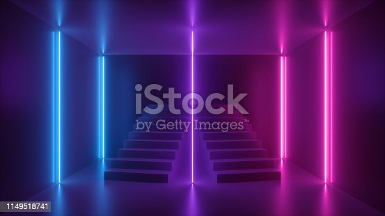 istock 3d render, abstract neon background, pink blue glowing light, staircase in dark room 1149518741