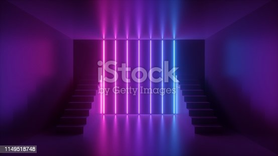 istock 3d render, abstract neon background, pink blue glowing light, staircase in dark room 1149518748