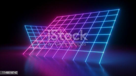 istock 3d render, abstract neon background, pink blue grid in ultraviolet spectrum, laser show glowing lines 1149518742